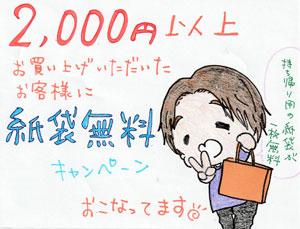 2000円以上お買い上げのお客様は紙袋無料